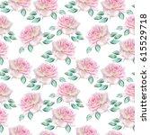 watercolor roses pattern. | Shutterstock . vector #615529718