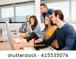 group of five young people... | Shutterstock . vector #615535076