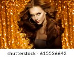 golden beautiful fashion woman  ... | Shutterstock . vector #615536642