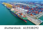container ship in export and... | Shutterstock . vector #615538292