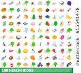 100 health icons set in... | Shutterstock .eps vector #615541478