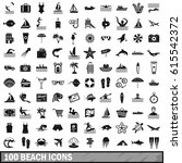 100 beach icons set in simple... | Shutterstock .eps vector #615542372