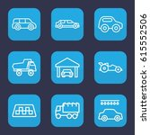automobile icon. set of 9... | Shutterstock .eps vector #615552506