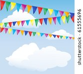strings of bunting against sky. ... | Shutterstock .eps vector #61555696