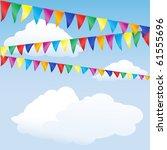 strings of bunting against sky. ... | Shutterstock .eps vector #61555696