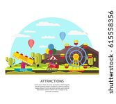 colorful amusement park... | Shutterstock .eps vector #615558356