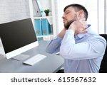 posture concept. man suffering...   Shutterstock . vector #615567632