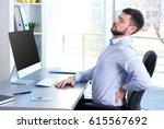 posture concept. man suffering...   Shutterstock . vector #615567692