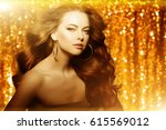 golden beautiful fashion woman  ... | Shutterstock . vector #615569012