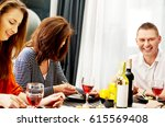 dinner with friends. | Shutterstock . vector #615569408