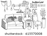 Creative graphic furniture collection. Vector doodle elements