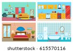 modern interior of rooms ... | Shutterstock .eps vector #615570116