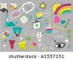 cute little hand drawn elements | Shutterstock .eps vector #61557151