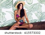 sensual tan woman with perfect... | Shutterstock . vector #615573332