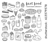 collection of hand drawn... | Shutterstock .eps vector #615579578