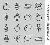 leaf icons set. set of 16 leaf... | Shutterstock .eps vector #615583772