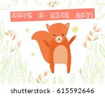 cute squirrel with flower on... | Shutterstock .eps vector #615592646