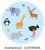 zoo wild animals flat set.... | Shutterstock .eps vector #615594836