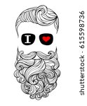 a hipster with a mustache ... | Shutterstock .eps vector #615598736