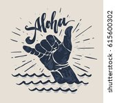 Aloha   Lettering Surfing Prin...
