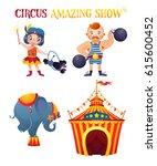 circus cartoon characters set....   Shutterstock .eps vector #615600452