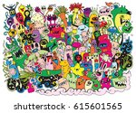 vector illustration of monsters ... | Shutterstock .eps vector #615601565