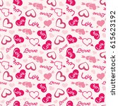 love theme hearts valentine's... | Shutterstock . vector #615623192