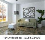 white interior design of a... | Shutterstock . vector #615623408