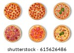 six different pizza set for... | Shutterstock . vector #615626486