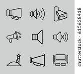 megaphone icons set. set of 9... | Shutterstock .eps vector #615628418