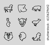 mammal icons set. set of 9... | Shutterstock .eps vector #615629642