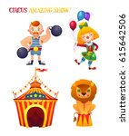 circus cartoon characters set.  ...   Shutterstock .eps vector #615642506