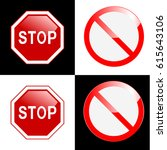 stop sign  set. | Shutterstock .eps vector #615643106