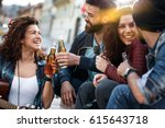 group of young people hangout ... | Shutterstock . vector #615643718