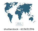 flat world map. silhouettes on... | Shutterstock .eps vector #615651596