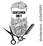hipster barber shop logo  badge.... | Shutterstock .eps vector #615655892