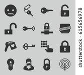 secret icons set. set of 16... | Shutterstock .eps vector #615656978