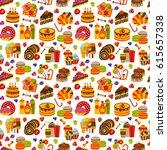 sweet food flat seamless... | Shutterstock .eps vector #615657338