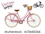 city bicycle. vintage style in... | Shutterstock .eps vector #615660266
