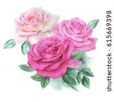 watercolor roses | Shutterstock . vector #615669398