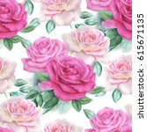 watercolor rose pattern. | Shutterstock . vector #615671135
