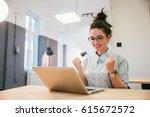 gril passing an exam  euphoric... | Shutterstock . vector #615672572