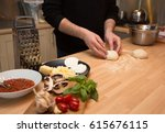 making pizza with fresh... | Shutterstock . vector #615676115