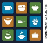 soup icons set. set of 9 soup... | Shutterstock .eps vector #615682748