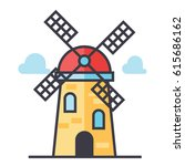 windmill icon symbol  holland ... | Shutterstock .eps vector #615686162