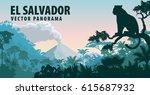 vector panorama of el salvador... | Shutterstock .eps vector #615687932