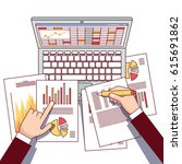 business analyst hands holding... | Shutterstock .eps vector #615691862