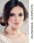 Small photo of Closeup Portrait of Beautiful Bride Wearing Fashion Wedding Dress with Luxury Makeup and Hairstyle, Studio Photo. Young Attractive Model