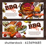 bbq and grill horizontal... | Shutterstock .eps vector #615694685