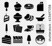 chocolate icons set. set of 16... | Shutterstock .eps vector #615697358